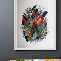 Színes absztrakt akril festmény olajkartonra festve eladó