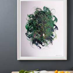 zöld absztrakt akril kortárs egyedi festmény eladó