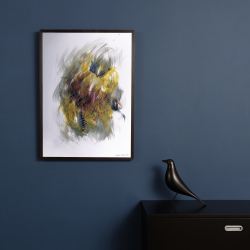 sárga absztrakt akril kortársfestmény akvarell papírra festve eladó