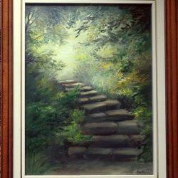 Lépcsők, olajfestmény