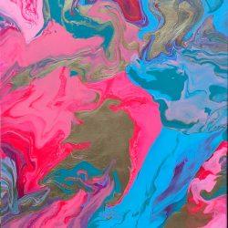 Pink Blue Gold fluid art abstract