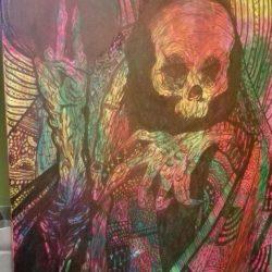 Tágra zárt szemek szürrealista és fél absztrakt festmény