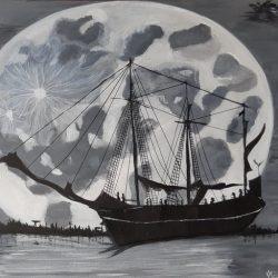 Éjjeli hajó holdfényben