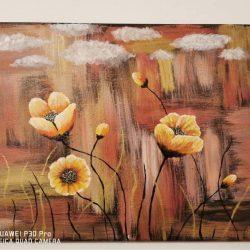 Akril, vászon. Égi érő virágok egy másik világban
